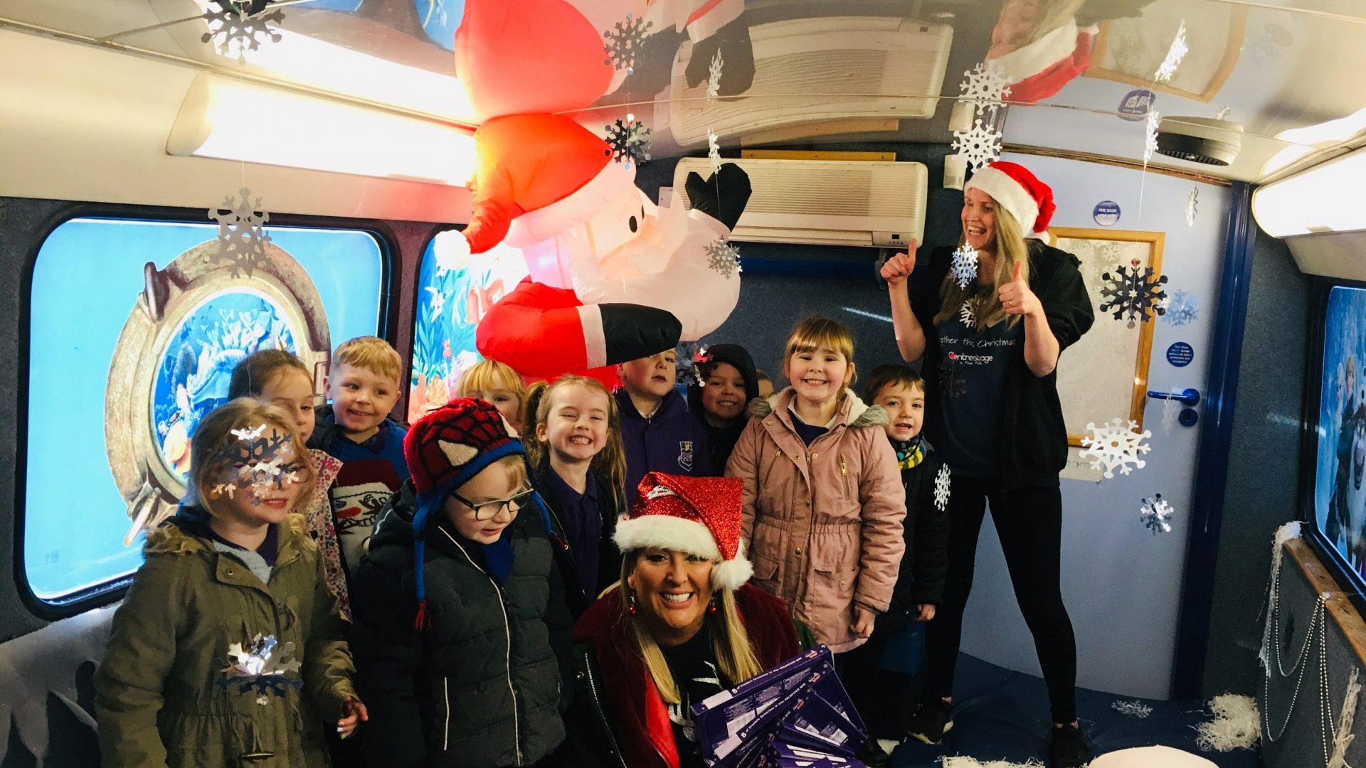 All aboard the Santa Bus